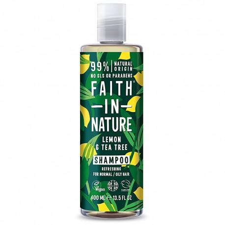 Faith in Nature Σαμπουάν με Έλαιο Τεϊόδενδρου και Βιολογικό Λεμόνι 400ml / Για όλους τους τύπους μαλλιών κατά τηςπιτυρίδας
