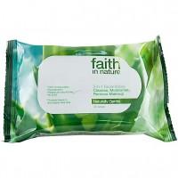 Faith in Nature Μαντιλάκια Καθαρισμού Προσώπου 3 σε 1, 25 τμχ